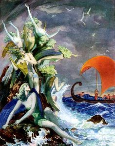 """William Andrew Pogány, [Sirens] Temptations of Ulysses, """"The American Weekly"""", 1948 Source Art And Illustration, Illustrations, Fantasy Kunst, Fantasy Art, Image Fruit, Water Nymphs, Images Vintage, Image Nature, Merfolk"""