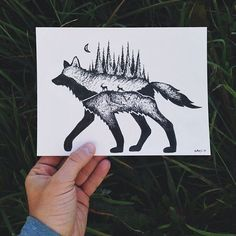 Drawings Ideas Sam Larson design tat idea - Sam Larson is a prolific freelance artist who lives in Portland who draws outdoor scenes that we love. Sam Larson, Tattoo Drawings, Cool Drawings, Deer Illustration, Karten Diy, West Art, Outdoor Art, Fauna, Painting & Drawing