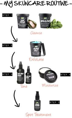 LUSH skincare routine for acne and sensitive skin.