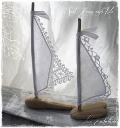 Pair of Driftwood  Beach Decor Sailboats Antique White Linen and Lace Sails how cute is this?!