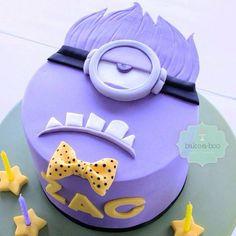 Purple Minion Birthday Cake, simple design