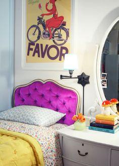 colour palette for D. Love the headboard.