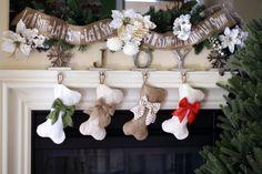 Mini-Dog Bone Stockings Burlap Pet Stocking by BurlapBabe on Etsy $27, 11 inches long