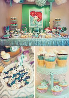 ariel themed little mermaid birthday party dessert table
