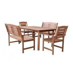 SET 1+2+2, obsahuje stôl 150x90cm, 2ks lavice 91x120x66cm, 2ks stoličky 91x60x66cm, malajzijske tvrdé drevo Meranti-Shorea, fixný set Outdoor Furniture Sets, Outdoor Decor, Home Decor, Home Interior Design, Decoration Home, Home Decoration