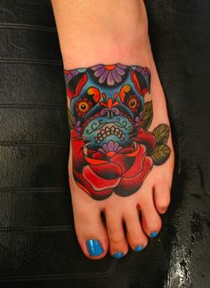 Sugar skull pug tattoo love this Girly Tattoos, Trendy Tattoos, Foot Tattoos, Life Tattoos, Body Art Tattoos, Tatoos, Wrist Tattoos, Pug Tattoo, Tattoo You