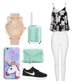 :) by bronteandmisty on Polyvore featuring polyvore, fashion, style, Ally Fashion, Topshop, NIKE, Apt. 9, Essie and clothing