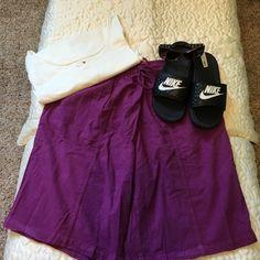 Pretty Lightweight 100% Cotton Shorts Pretty Purple Shirts, Drawstring Tie Waist Woman Within Shorts