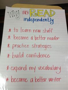 Independent Reading Anchor Chart - good reminder of why we do it every day! Good to introduce read to self Reading Lessons, Reading Activities, Teaching Reading, Reading Strategies, Guided Reading, Reading Comprehension, Reading Stamina, Reading Logs, Reading Stories