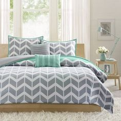 Shop for Intelligent Design Laila Chevron Print Duvet Cover Set. Get free delivery On EVERYTHING* Overstock - Your Online Fashion Bedding Store! Gray Bedroom, Trendy Bedroom, Home Decor Bedroom, Bedroom Ideas, Master Bedroom, Yellow Comforter, Comforter Sets, White Bedding, Products