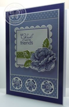 hand crafted card from Stampin with Paula: Stampin Royalty Sketch Challenge ... blue ... Stippled Blossoms ... luv the smaller flowers on circles ... Stampin' Up!