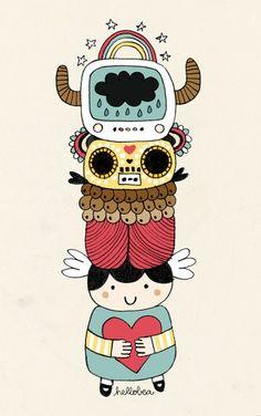 Happy totem illustration