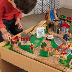 KidKraft Waterfall Mountain Train Set & Table with 120 Accessories Included - Walmart.com - Walmart.com Train Set Table, Crafts To Make, Crafts For Kids, Crane Lift, Wooden Train, Thomas The Train, Natural Wood Finish, Waterfall, Table Settings