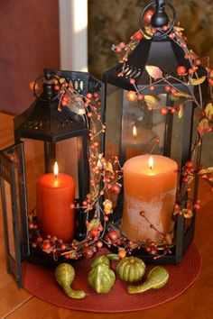 Awesome 50 Fall Lanterns For Outdoor And Indoor Décor : Calm Modern Interior Design With Wooden Table And Orange Glass Candle Box And Fall F...