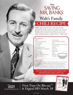 Learn how to make Walt Disney& Family Chili Recipe! Retro Recipes, Old Recipes, Vintage Recipes, Chili Recipes, Copycat Recipes, Cooking Recipes, Recipies, Disney Food Recipes, Cooking Ideas