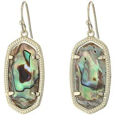 Kendra Scott Dani Earrings (Gold/Abalone Shell) Earring ($65) ❤ liked on Polyvore featuring jewelry, earrings, gold jewellery, yellow gold earrings, seashell earrings, gold hook earrings and kendra scott earrings