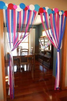 streamers-with-polka-dot-header for that special birthday party. Use clouds instead of polka dots and red, orange streamers Polka Dot Birthday, Polka Dot Party, Birthday Fun, Birthday Parties, Special Birthday, Polka Dots, Birthday Morning, Birthday Ideas, Decoration Cirque