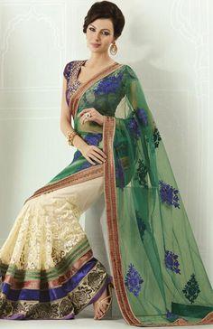 $121.48 Green and White Embroidery Half Designer Saree 22785