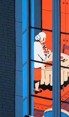From Vincent Mahé's spot on and excellent series of illustrations featuring human moments captured through Parisian windows. Love his colors and the textural quality he achieves here. Hats off. Art And Illustration, Graphic Design Illustration, Graphic Art, Animation, Painting Prints, Paintings, Illustrators, Design Art, Sketches