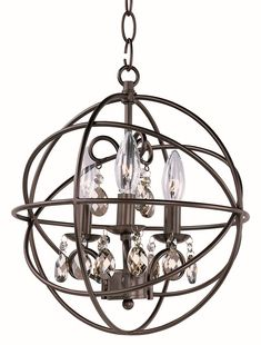 Maxim Orbit Crystal 1 Tier Chandelier Light – 60 Watts Contemporary Style Lighting Fixture in Rubbed Bronze Finish. Home Decor Lights >>> Check out the image by visiting the link. (This is an affiliate link) Simple Chandelier, Chandelier For Sale, 3 Light Chandelier, 3 Light Pendant, Pendant Chandelier, Globe Pendant, Pendant Lighting, Small Chandeliers, Joss And Main
