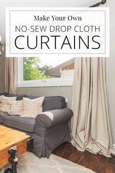 drop cloth curtains on living room window, grey sectional couch, chandelier Living Room Decor Curtains, Living Room Windows, Living Room Grey, Drop Cloth Curtains, Drapes Curtains, Insulated Drapes, Custom Drapes, Guest Bedrooms, Guest Room