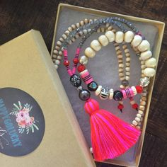 Boho Tribal Pink Vinyl Discs on White Bone by HappyGoLuckyJewels