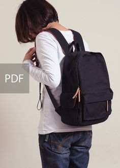 Be Strong ! Multiple Pockets Backpack - Bag PDF Sewing Pattern - with Sewing Tutorials by niizo (no supplies )