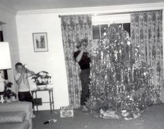 50s Christmas tree - Look at all that tinsel! Great example of 50s decor.