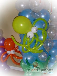 Under the sea:  octopus balloons, I can make these!  Just need little balloons for the eyes.