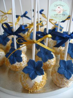 Deep blue and gold - navy /sea themed cake pops .