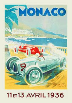 MONACO GRAND PRIX 1936 Official Poster - Classic Lithographic Reprint - Art Deco Style by George Ha - (Winning Driver: Rudolf Caracciola, Germany, Mercedes W25C) -available at www.sportsposterwarehouse.com