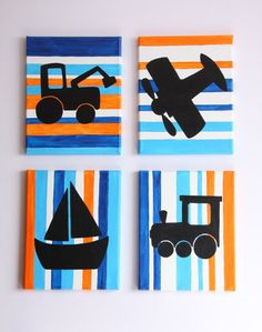 Wheels Wings & Sails  Original Children's Art   by CustomColorArt