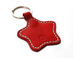 Handmade Star Leather Keychain Keyring Keyfob by RitsandRits