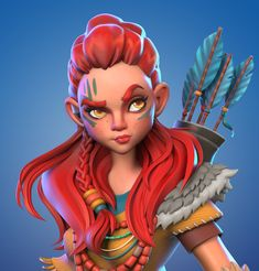 Aloy by Arik Newman Game Character Design, 3d Character, Character Concept, Concept Art, Zbrush Character, Character Modeling, Cartoon Faces, Girl Cartoon, Style Tribal