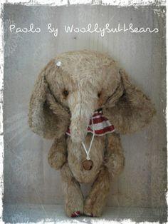Paolo Elephant Bear handmade by Woollybuttbears by Woollybuttbears, $86.00