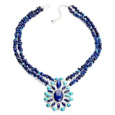 Jay King 2-Strand Lapis and Turquoise Drop Necklace at HSN.com.