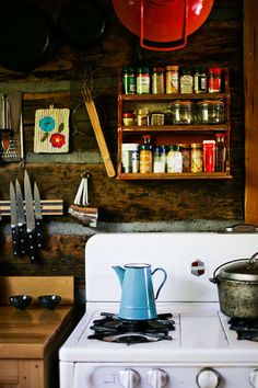 Small cabin!  Red and robins egg blue for the kitchen ...