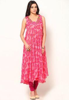 Bhubaneshwari Pink Georgette Bias Flair - Buy Women Kurtas & Kurtis Online | MB786WA20OUTINDFAS