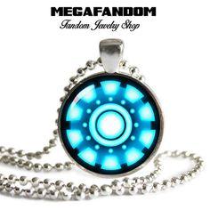 Arc Reactor Necklace Iron Man Pendant Round Glass Photo Pendant Arc Reactor Jewelry Geeky Jewelry Comic Jewelry