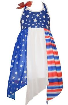 Baby Girls Short Sleeve Dress Red Stripe /& Blue Stars American Flag Sundress 1-4 Years