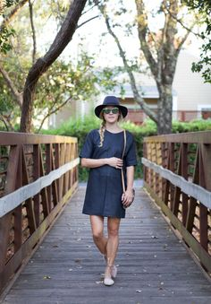 Leather dress, wool hat, and suede flats   Vogue in Vines