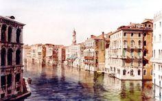 Canal Grande à côte du Ponte di Rialto de grand matin, Venise (Peinture),  56x37 cm par Paul Dmoch La beauté pure de la lumière vénitienne