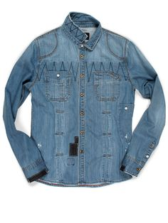 Denim Jean Shirt for Men in Light Blue Destroyed Bleached Wash with Slim Fit • WILLIAMSBURG GARMENT COMPANY