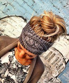 Gray Cable Knitted Headband Ear Warmer Pinterest Favorite! | three bird nest