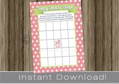 Owl theme Baby Shower Bingo Game Cards pink and by PrimoPrintables, $5.00