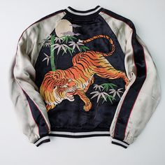 Vintage SCRIPT Japanese TIGER Rising Koi Carp Fish Embroidery Souvenir Sukajan Jacket - Japan Lover Me Store