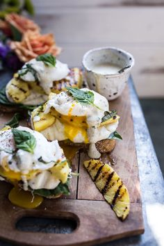 Grilled Pineapple Caprese Eggs Benedict with Coconut-Almond Hollandaise | halfbakedharvest.com @hbharvest