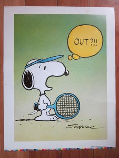 "Schulz Signed Snoopy ""Tennis Ace"" Lithograph Print from 1958 United Feature Syndicate, Inc. by RainbowConnection15 on Etsy"
