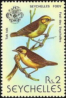 Seychelles fody on a 1979 stamp of Seychelles