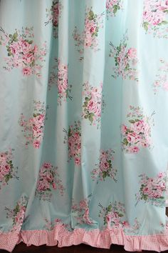 Aqua Turquoise Blue Pink Cottage Shabby Rose Ruffle Cotton Ribbon Bow Ties Curtain Beautiful and elegant shabby rose curtain will be the focal point in [. Rose Curtains, Ruffle Curtains, Shabby Chic Curtains, Shabby Chic Pink, Shabby Chic Bedrooms, Shabby Chic Homes, Cottage Curtains, Layered Curtains, Ideias Diy